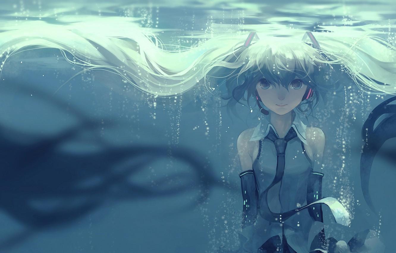 Photo wallpaper girl, smile, bubbles, anime, art, microphone, vocaloid, hatsune miku, under water, hanyijie