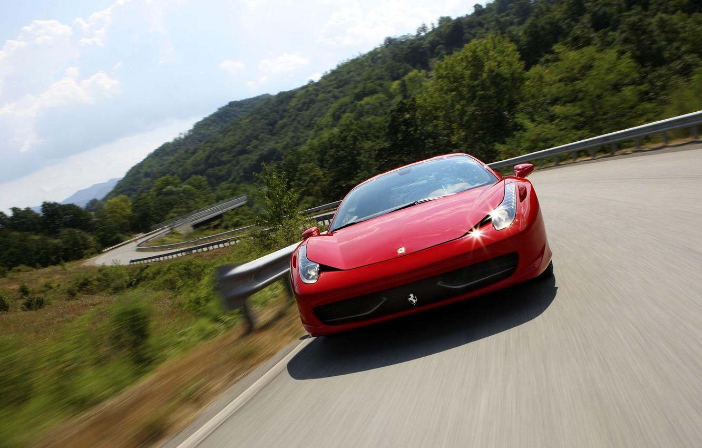 Photo wallpaper road, ferrari, Ferrari, 458 italia