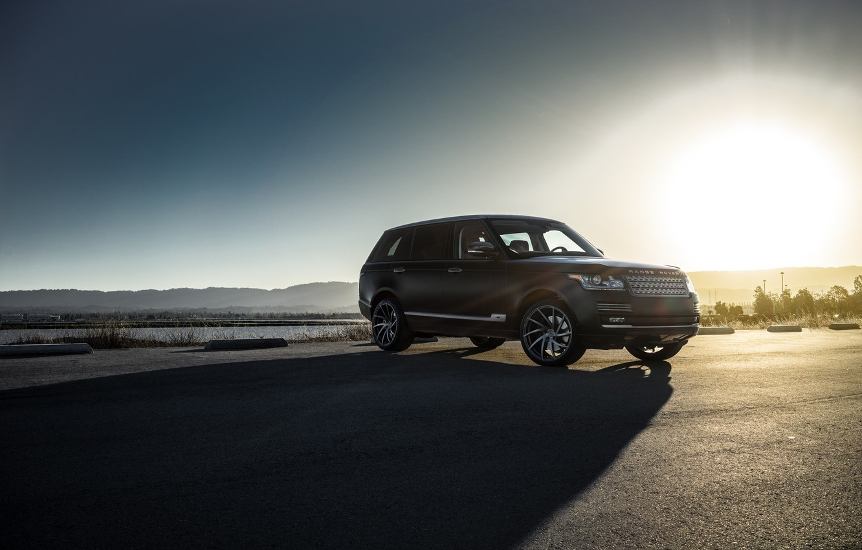 Photo wallpaper Land Rover, Range Rover, Car, Sky, Front, Sun, Matte Black