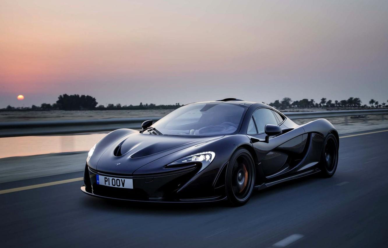 Photo wallpaper McLaren, The evening, Road, Black, Machine, McLaren, Speed, Black, Supercar