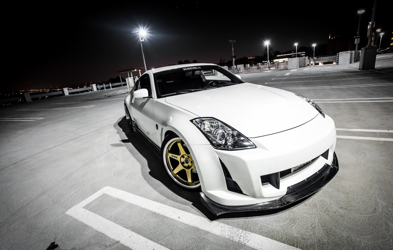 Photo wallpaper white, night, tuning, Parking, Nissan, white, Nissan, 350Z