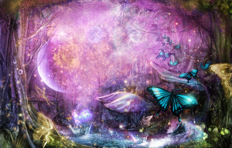 Photo wallpaper forest, trees, butterfly, Art, art