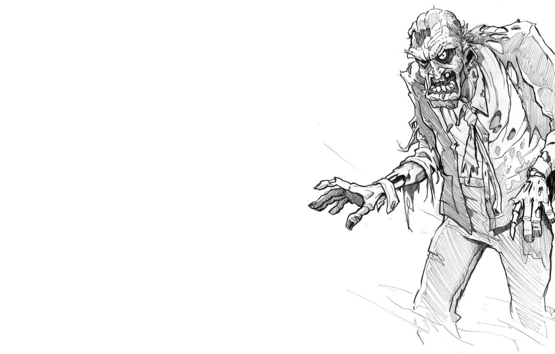 Photo wallpaper zombie, white, black, clothing