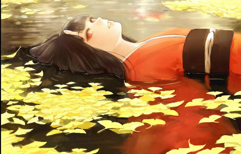 Photo wallpaper leaves, water, the demon, kimono, red eyes, horns, youkai