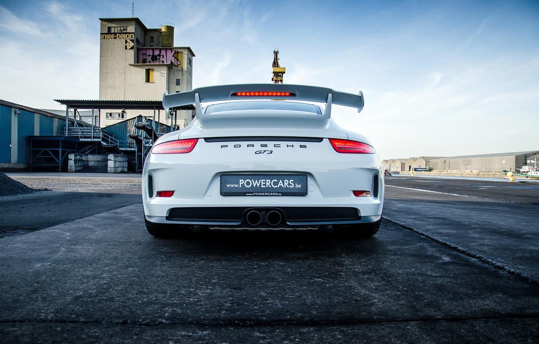 Photo wallpaper Porsche, white, Porsche, GT3, rear, 991