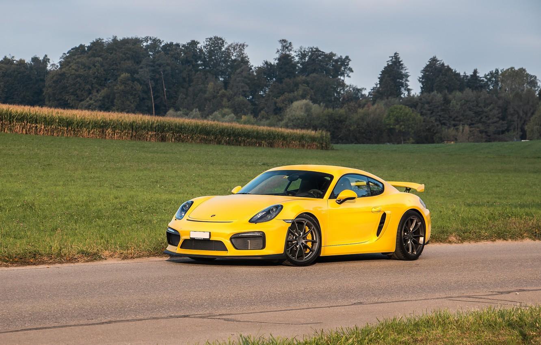 Photo wallpaper Porsche, Cayman, Yellow, Field, GT4