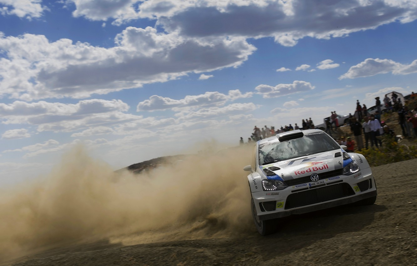 Photo wallpaper The sky, White, Volkswagen, Machine, People, Race, Skid, Day, WRC, Rally, Rally, Polo, S. Ogier
