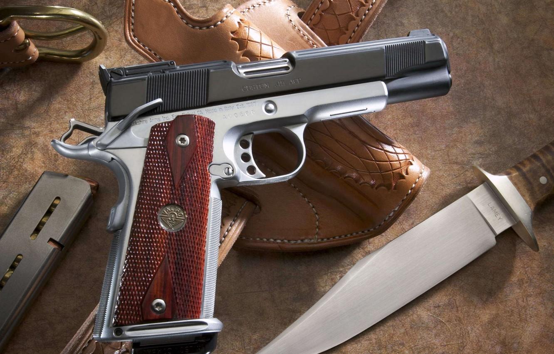Photo wallpaper gun, knife, shop, case