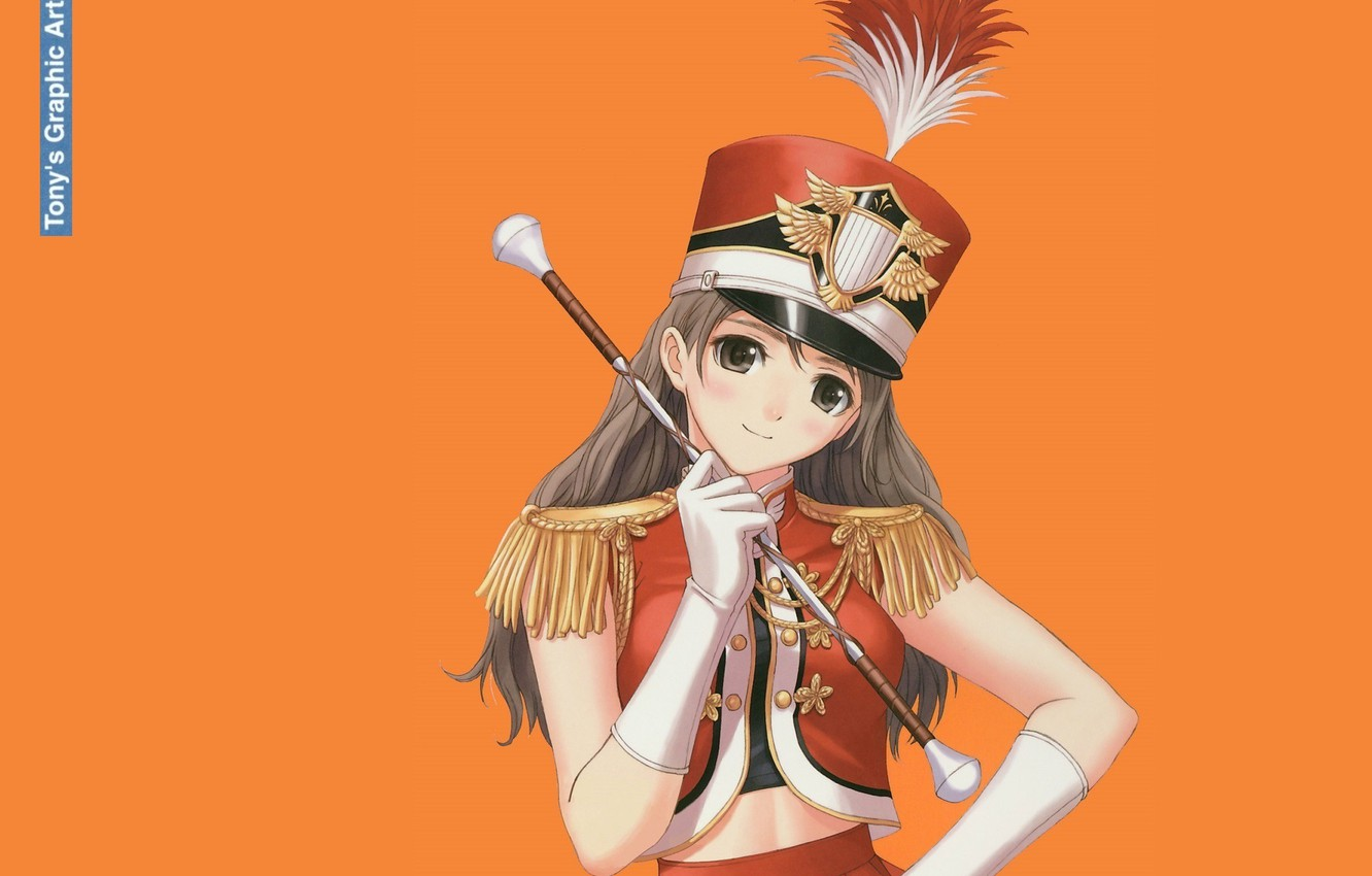 Photo wallpaper girl, gloves, form, orange background, rod, art, badge, Tony Taka, kiver, epaulettes, hackle