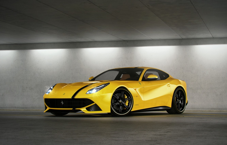 Photo wallpaper yellow, Parking, ferrari, Ferrari, yellow, headlights, F12 berlinetta, F12 Berlinetta