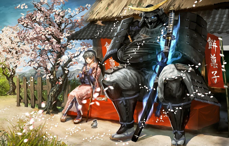 Photo wallpaper girl, bird, sword, katana, petals, Sakura, warrior, art, Sparrow, samurai, characters, banner, vanipo