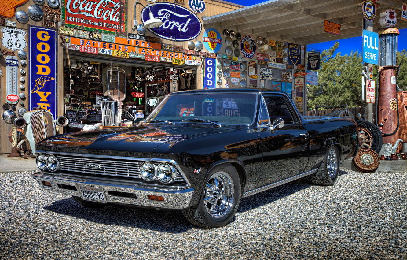 Photo wallpaper retro, dressing, Chevrolet, car, muscle car, classic, Muscle car, The Way, gas station, service