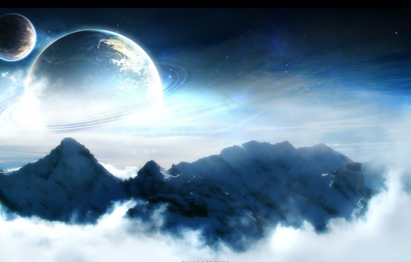 Photo wallpaper space, mountains, planet, light, ring