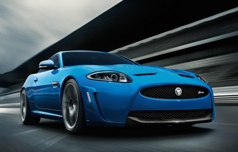 Photo wallpaper Road, Blue, Machine, Jaguar, Movement, Car, Car, Blue, Jaguar XKR-S