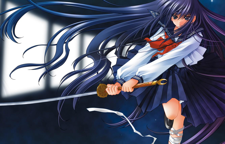 Photo wallpaper girl, fantasy, katana, warrior, Yami to Boushi to Hon no Tabibito