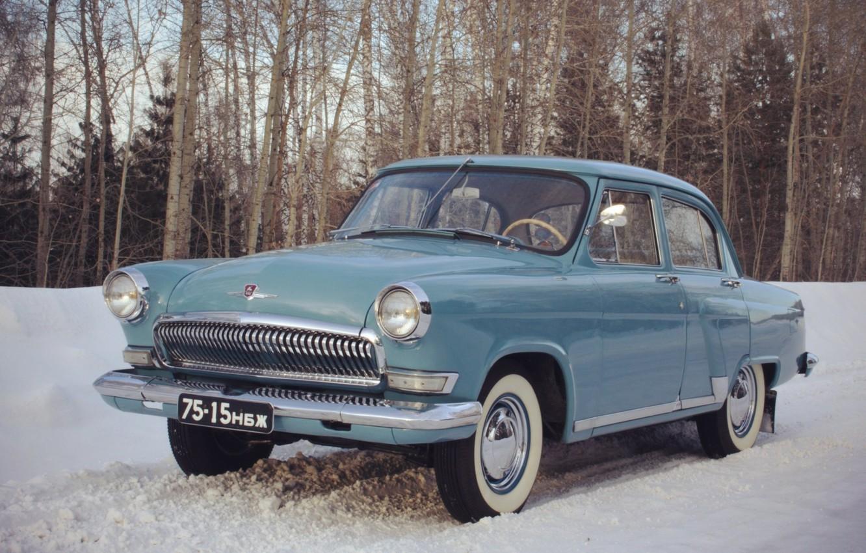 Photo wallpaper snow, retro, background, Wallpaper, USSR, car, legend, Volga, Volga, GAZ 21