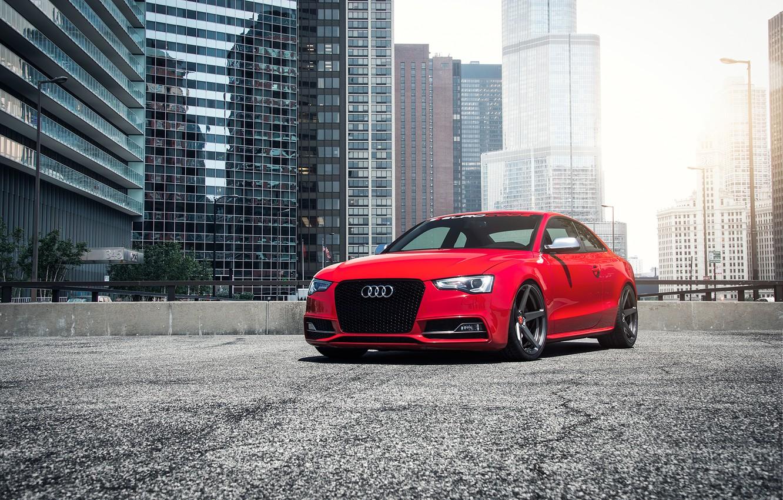 Photo wallpaper car, red, Audi B8.5