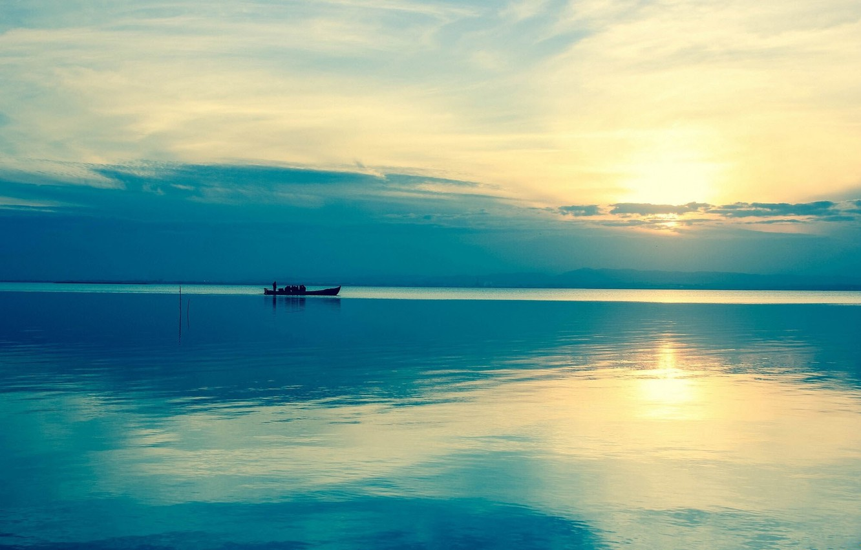 Photo wallpaper water, the sun, river, sunrise, boat