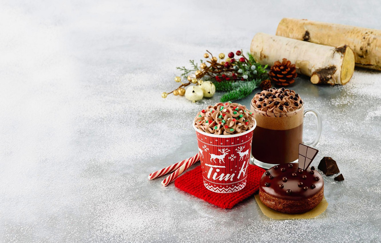 Photo wallpaper winter, snow, coffee, food, cream, Cup, cake, cake, dessert, winter, snow, cocoa, coffee, cream, dessert, …