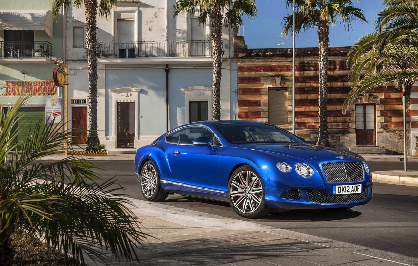 Photo wallpaper Auto, Bentley, Continental, Blue, The city, Machine, Day, Coupe