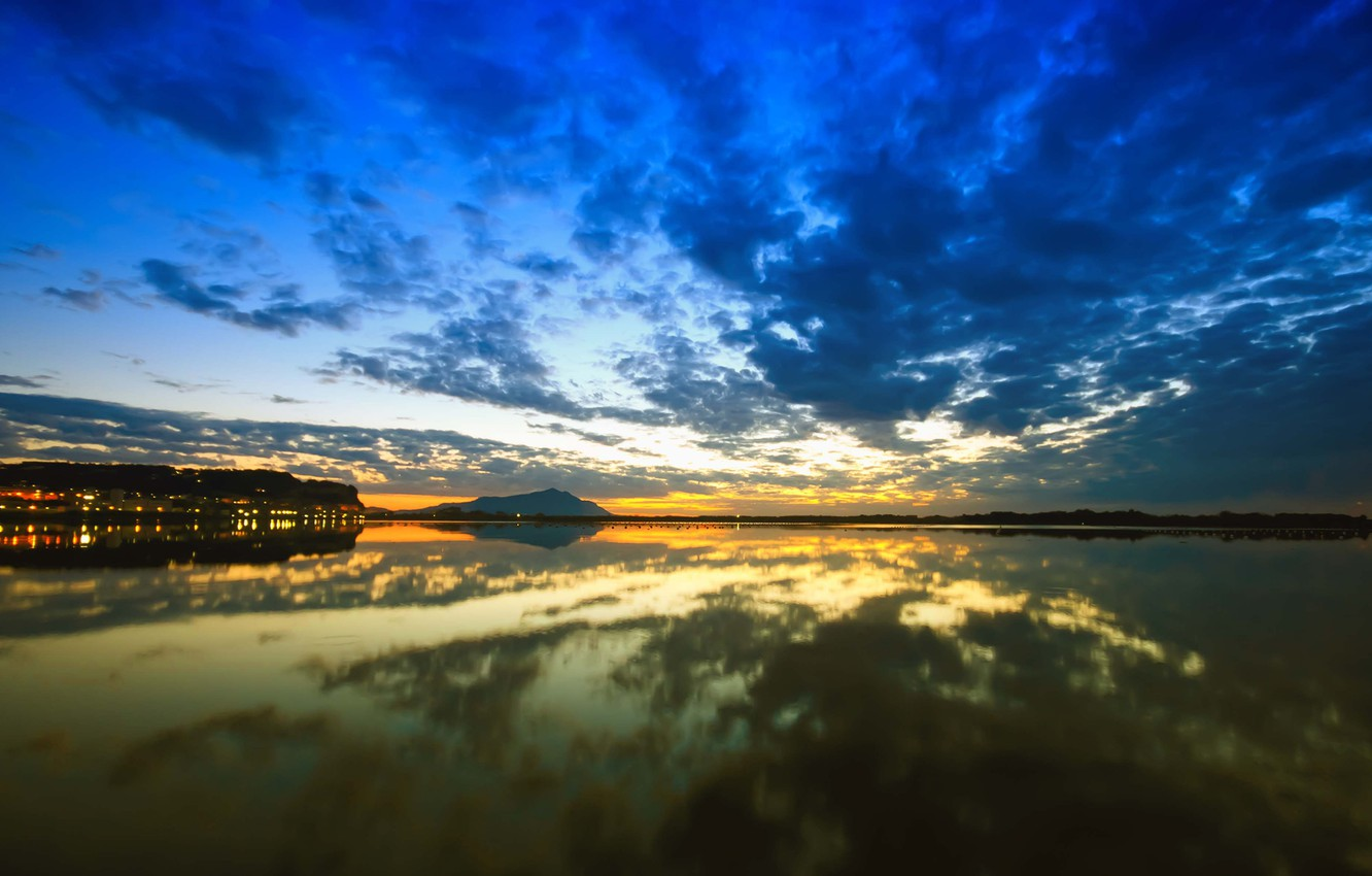 Photo wallpaper the sky, water, the sun, clouds, landscape, nature, lake, reflection, dawn, sky, landscape, nature, water, …
