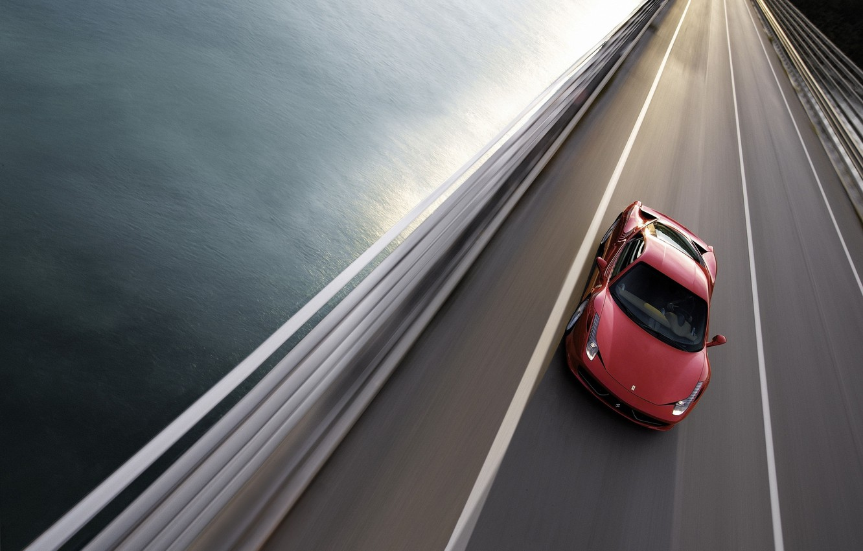 Photo wallpaper road, bridge, Ferrari, 458