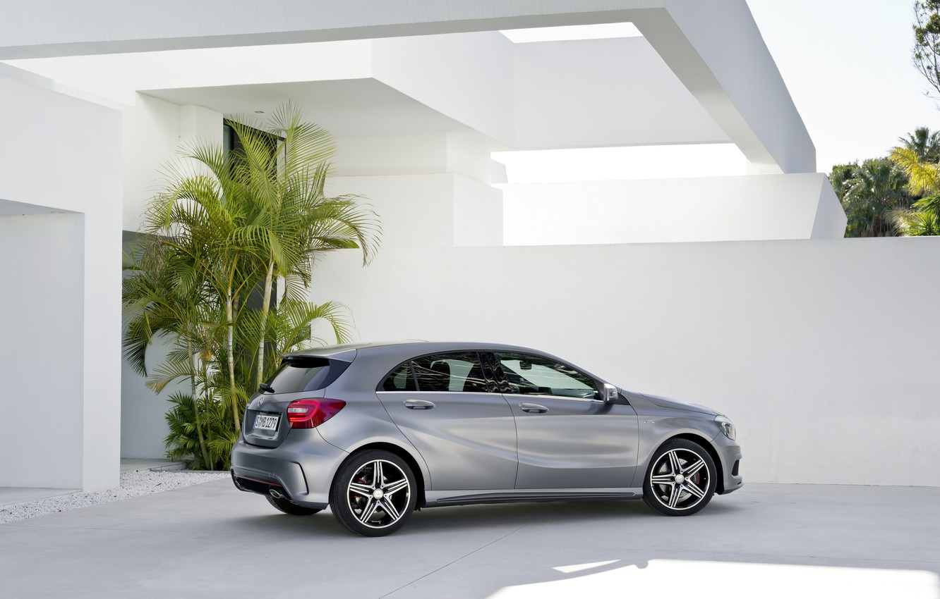 Photo wallpaper house, grey, Mercedes, Mercedes, A class, AMG package
