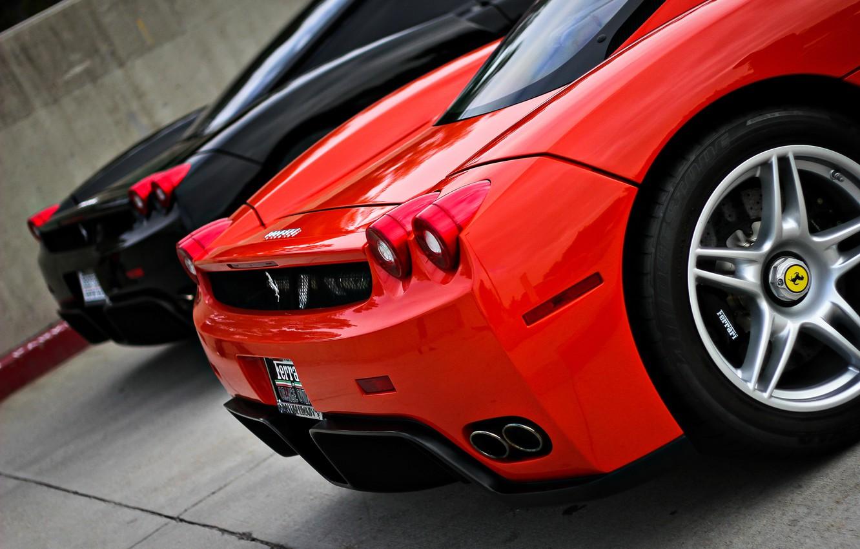 Photo wallpaper red, black, Ferrari, supercar, red, supercar, Ferrari, black, enzo, back, Enzo