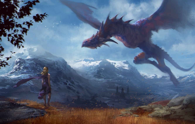 Photo wallpaper flight, mountains, dragon, Girl, Art, game of thrones, Daenerys Targaryen, Mother of Dragons