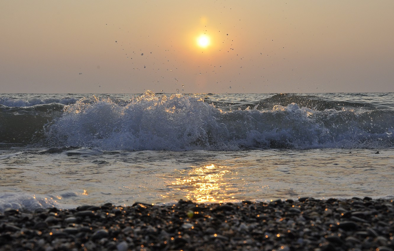 Photo wallpaper sea, the sun, sunset, squirt, wave