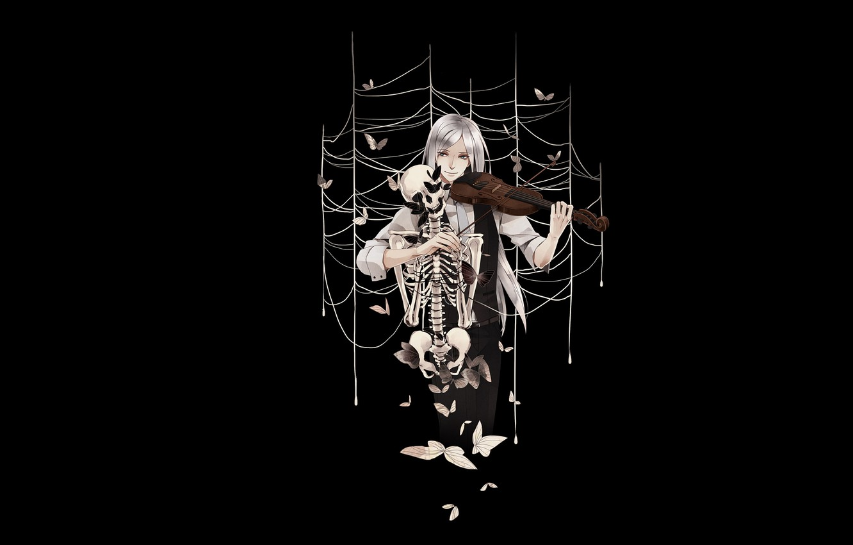 Photo wallpaper butterfly, violin, web, skeleton, Guy, black background