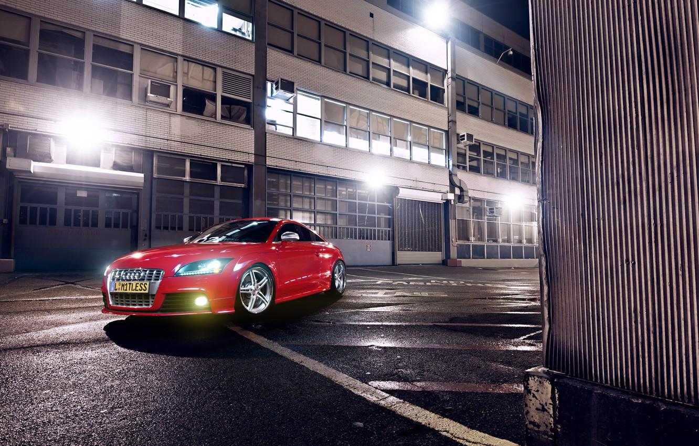 Photo wallpaper Audi, Red, Glow, Lights, Night, Tuning, Wheels, Garage