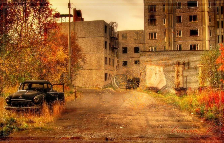 Photo wallpaper autumn, Pripyat, Ghost town