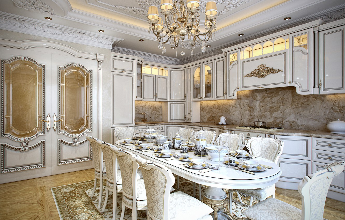 Photo wallpaper table, furniture, chairs, interior, the ceiling, kitchen, chandelier, dishes