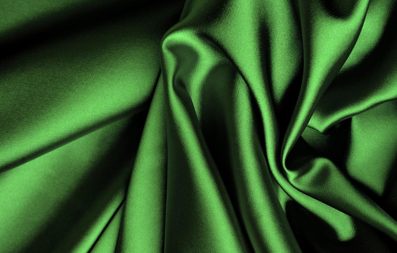 Photo wallpaper green, silk, fabric, folds, satin