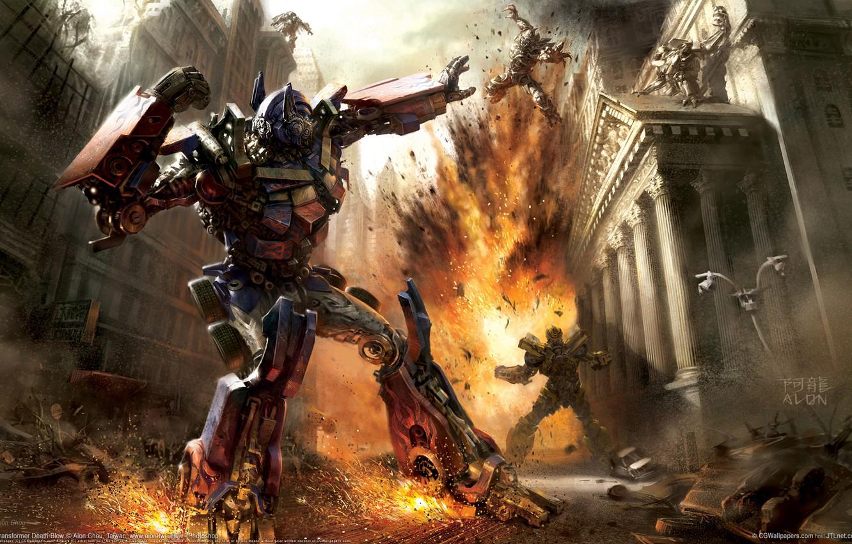 Photo wallpaper the explosion, robot, Battle, Transformers