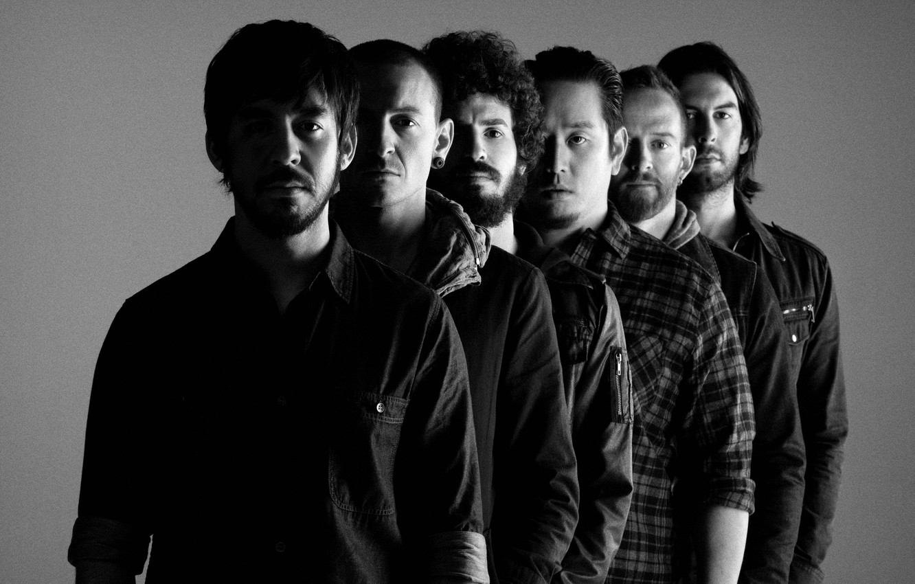 Photo wallpaper photo, background, black and white, men, rock band, American, Linkin Park