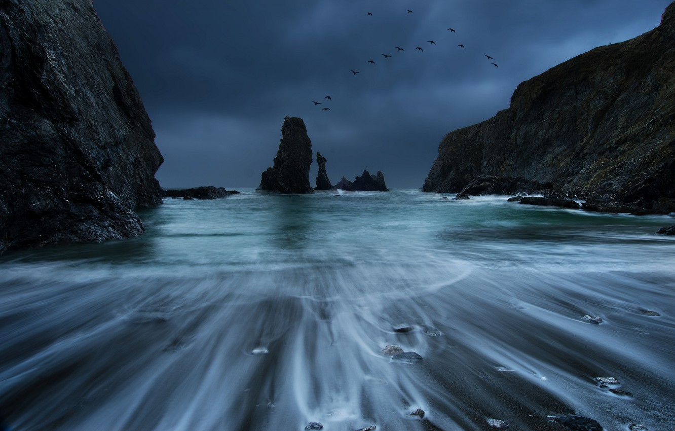 Photo wallpaper sea, the storm, the sky, birds, clouds, stones, rocks, shore, coast, France, surf, blue, Brittany