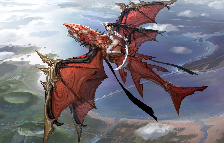 Photo wallpaper girl, flight, dragon, height, sword, anime, art