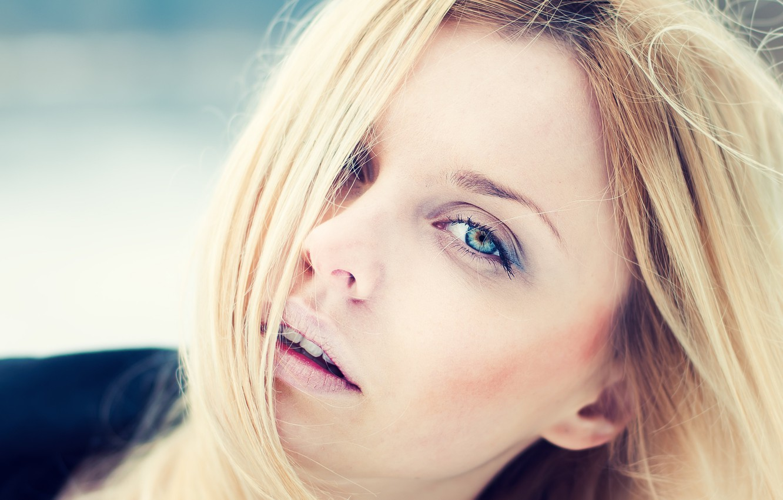 Photo wallpaper eyes, macro, model, hair, blonde, lips, face. look