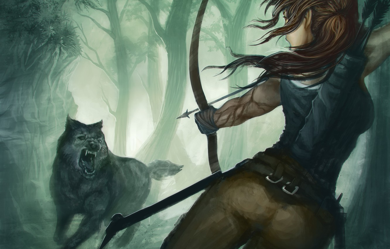 Wallpaper Girl The Game Wolf Predator Bow Art Mouth Tomb Raider Lara Croft Images For Desktop Section Igry Download