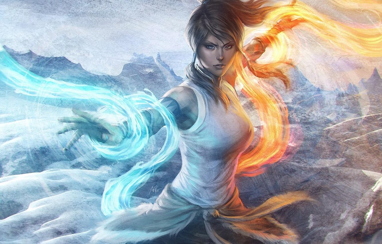 Photo wallpaper water, girl, mountains, fire, element, magic, art, avatar, times, the legend of korra