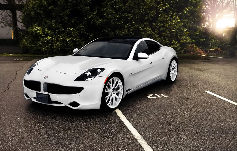 Photo wallpaper white, Parking, supercar, car, the fisker karma, Fisker