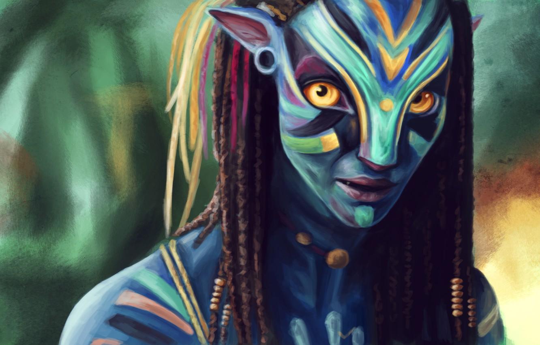 Wallpaper Avatar Neytiri Art Zoe Saldana James Cameron