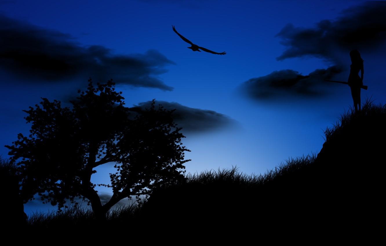 Photo wallpaper girl, night, tree, bird, eagle, silhouette, the gun