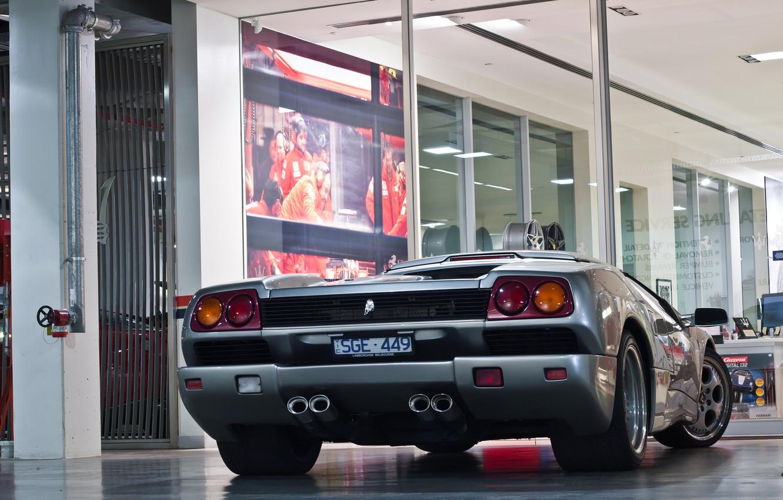 Photo wallpaper silver, Lamborghini, silver, diablo, Lamborghini, back, Diablo