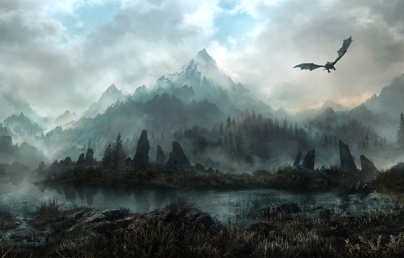 Photo wallpaper forest, mountains, fog, stones, dragon, art, deviantart, JonasDeRo, Land Of Skyrim