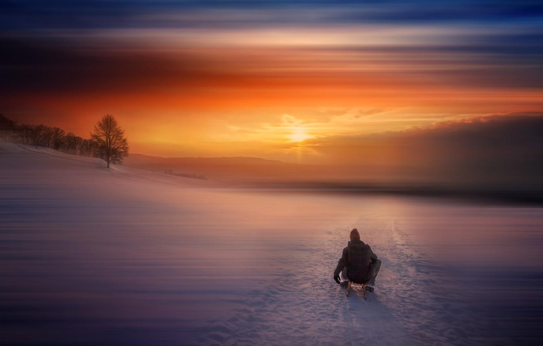 Photo wallpaper winter, snow, sunset, sled