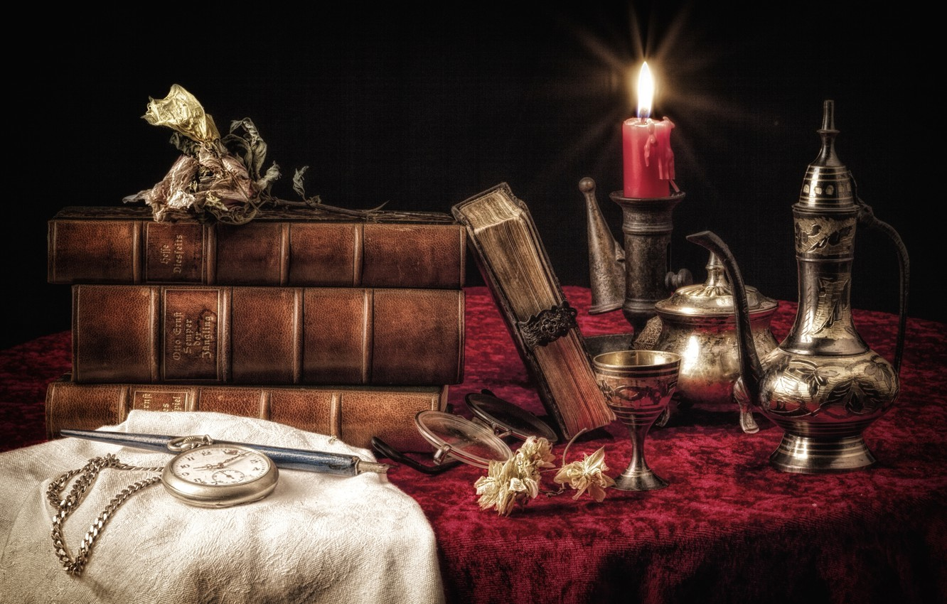 Photo wallpaper watch, books, candle, dishes, still life