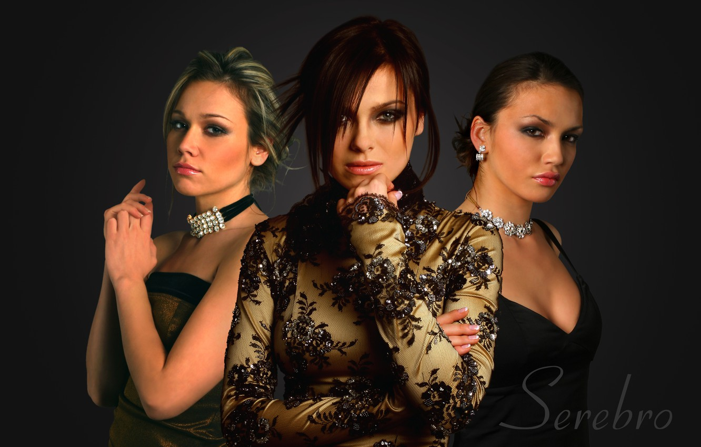 Photo wallpaper girls, group, Silver, black background, hairstyles, music, dresses, Serebro, elegant, singer